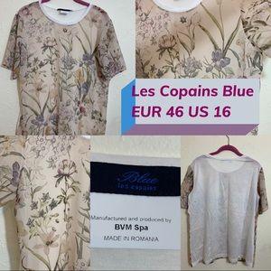 Les Copains Blue floral print top sheer US 16 EU36